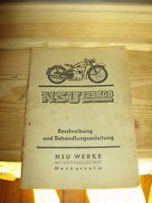Orig. NSU 125 ZDB Beschreibung und Behandlungsanleitung Vintage NSU Werke (1941)