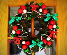 Christmas Xmas Holiday Door Wreath w Red & Green Bows,Beads,Jingle Bells & Ornam