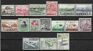 1954-1959 ICELAND LOT OF 16 USED STAMPS - CV €7.20