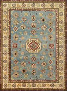 Geometric Kazak 10'x13' Blue Wool Hand-Knotted Oriental Rug