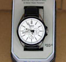 Casio Men's White Chronograph Dial Black Leather 48mm Watch MTPSW300L7TN