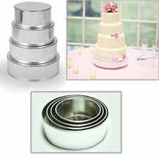 "4 TIER HEAVY DUTY ROUND WEDDING CAKE TINS 6"" 8"" 10"" 12"" - 3"" DEEP"