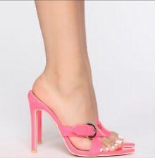 Fashion Nova Women's No Consequences Heeled Sandal Neon Pink Size 8.5