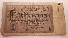 German 1 Rentenmark banknote. 1937