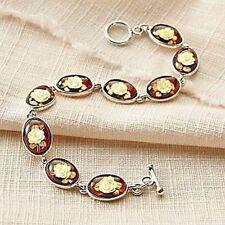 "Amber Rose Intaglio Carved Bracelet 7.75"" Long Sterling Silver, Toggle Clasp"