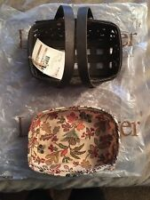 Nwt 2009 Longaberger Deep Brown Small Loaf Basket W/ Autumn Fields Liner