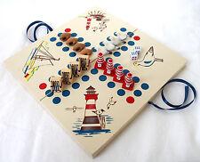 maritimes Brettspiel mit Würfeln Holz / Poly 24x24cm Beige