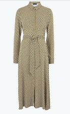 BNWT M&S Holly Willoughby ochre geometric belted midi shirt dress, 14, sold out!