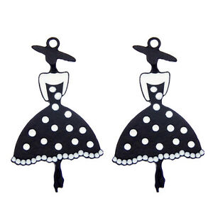 8pcs White Enamel Plated Black Fashion Girl Pendant Charms Jewelry DIY Findings