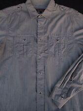 Ben Sherman Mens Button Front Long Sleeve Stripe Cotton Shirt Large L