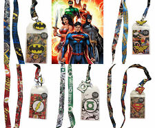 DC 5 Lanyard Batman Wonder Woman Superman Green Lantern Flash Badge Holders