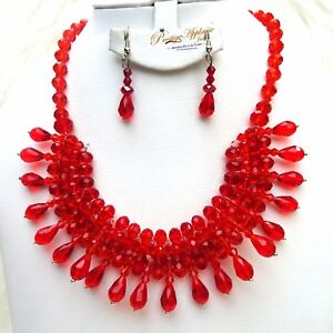 Mixed Black Red Gold Beads Necklace Earring Jewellery Set for Ladies