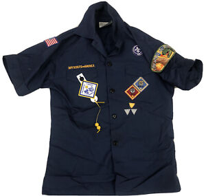 Boy Scouts of America Youth Medium Navy Blue Shirt With Patches Badges