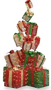 "65"" CHRISTMAS GIFT BOXES STACK SANTA PRESENTS LED LIGHTED YARD DECOR"