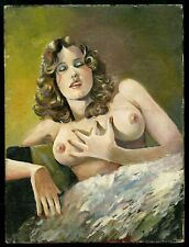 1950's Vintage Painting Nude Art~Perfect Firm Breasts Pink Nipples Sultry Pinup
