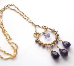 VINTAGE COOKIE LEE PURPLE GLASS CRYSTAL BEADED GOLD TONE CHAIN NECKLACE