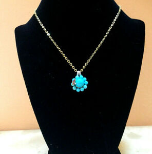 """14k Yellow Gold Turquoise Amethyst Butterfly Pendant 16"""" Necklace Milor Italy"""