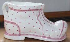Gmundner Keramik  Bergschuh (für Blumenübertopf oder Gesteck), rosa getupft, neu