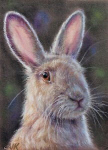 Original ACEO pastel painting drawing by NK bunny rabbit light spring Easter