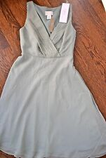 NWT J Crew womens special occasion bridesmaid dusty shale chiffon dress sz 0P