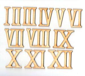 Römische Zahlen aus Holz 1-12 für eine Uhr 60 mm Höhe Basteln Deko