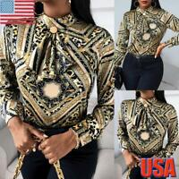 Womens Ladies Chain Floral Print Tie Up Pussy Bow Blouse Work OL Shirt Top Sizes