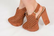 70s vintage style chunky tan leather laser cut platform heels FAITH size 8