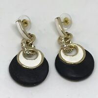 Alexis Bittar black lucite Crystal Disc Round gold hardware earrings