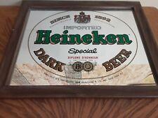 Vtg Heineken Imported Dark Beer Mirror Sign Pub Bar Man Cave Shop Decor