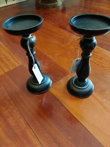 """(2) Fiddle & Fern Black Wood tapered pillar candle holders 10"""" farmhouse"""