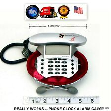 Southern Telecom MP-805 Corded LCD Mini Chit Chat Phone Red FM Radio Time Alarm