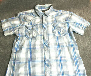 Western BKE Mens ss Pearl Snap Shirt  L Athletic Fit Pockets