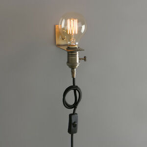 PATHSON RETRO INDUSTRIAL ANTIQUE HOLDER PLUG IN WALL LAMP SCONCE HANGING LIGHT