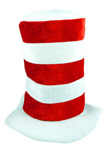 New Adults Unisex Cat in Crazy Hat Tall Red & White School day Fancy Dress Hats