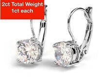 14K White Gold Earrings | Round Cut Cubic Zirconia | Leverback Drop Dangle