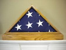 5 X 9 GOLDEN OAK W/ BASE FLAG DISPLAY CASE AMERICAN MILITARY BURIAL FUNERAL USA