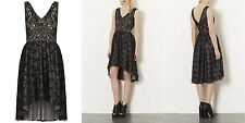 TOPSHOP STUNNING BLACK LACE DIP HEM EVENING DRESS SIZE 8 £58 TSJM