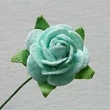 10 GREEN CARD CRAFT ROSES FOR CARDS OR CRAFTS