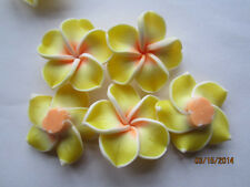 Jumbo Yellow White & Orange Cream Fimo Poly Clay Flower Beads 34mm 5pc