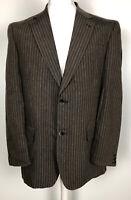 McNeal Gents Brown Stripe Blazer Jacket Size EU 52 100% Linen