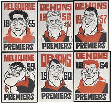 1955 - 1964 Melbourne Demons Weg Posters X 6  Premiership Poster Grand Final
