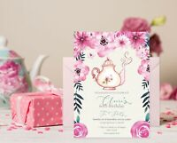 Personalised  Tea Party Invitation Floral Birthday Afternoon High Tea Invite