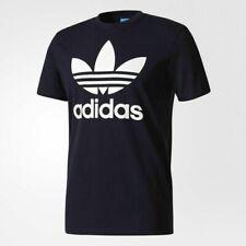 Azul Grande para Hombre Adidas Originales Trébol Mangas Cortas Escote Redondo Camiseta