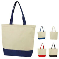 """2 Pack Natural Cotton Canvas Reusable Grocery Shopping Tote Bag Beach School 17"""""""