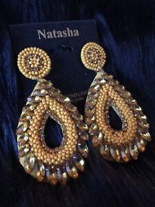 Natasha Yellow Rhinestones Beads Goldtone Drop Dangle Statement Earrings NWT