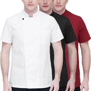 Mens Buttons Chef Short Sleeve Chef Jacket Coat Professional Cook Uniform Plus