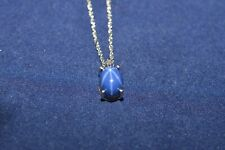"""BLUE STAR SAPPHIRE 7 X 5  MM & .02 CTS DIAMOND 14 KT WHITE GOLD 18.5"""" NECKLAce"""