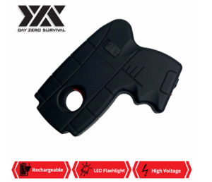 DZS 10 Million Volt Rechargeable Pistol Grip STUN GUN w/ LED Light & Safety Pin