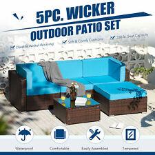 5pc Patio Furniture Set Rattan Wicker Sectional Sofa & Coffee Table Walnut