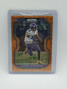 Justin Jefferson - 2020 Panini Prizm Orange Lazer Rookie Card - NFL Vikings